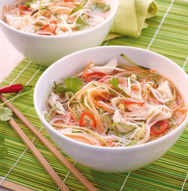 Chicken-Pho-Gemüsenudel Suppe