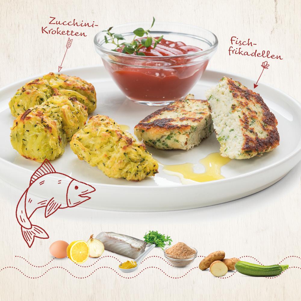 fischfrikadellen mit zucchini kroketten • genius rezeptwelt